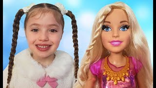 Dominika makes a Barbie doll makeover for kids
