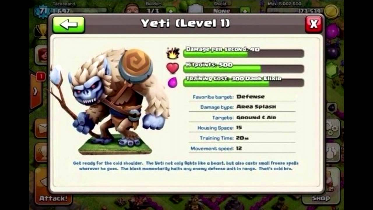 Clash of clans the troop quot yeti quot youtube