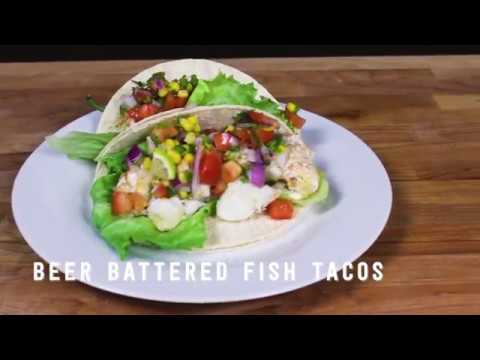 Air fryer beer battered fish tacos youtube for Airfryer battered fish