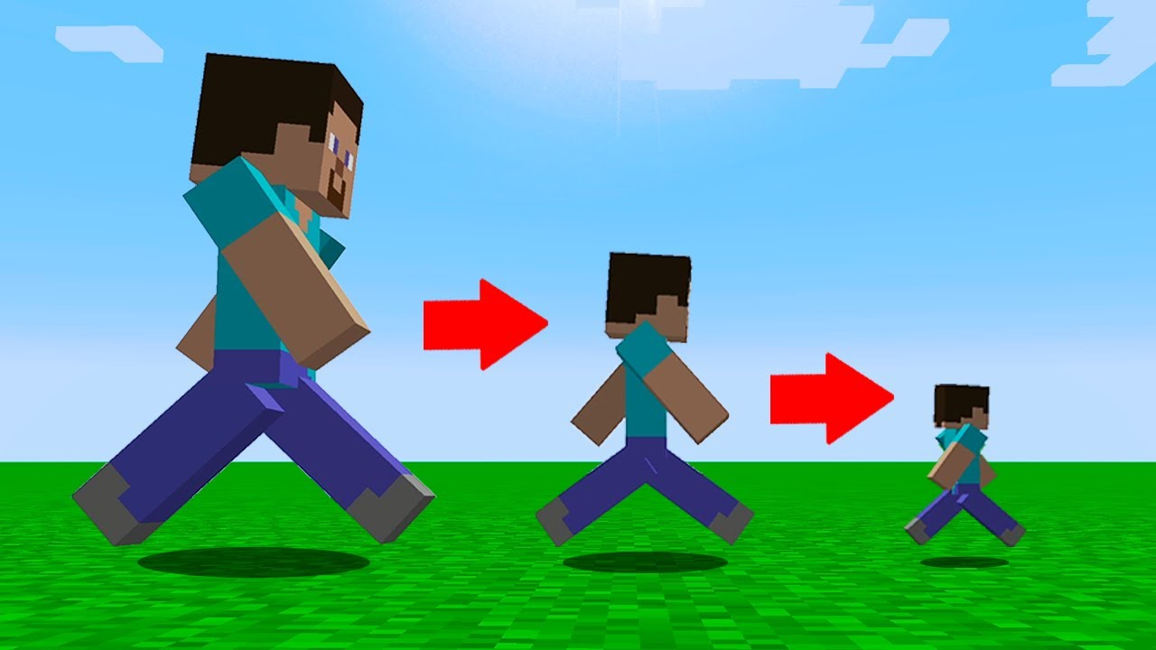 Download Minecraft but every step makes you smaller...