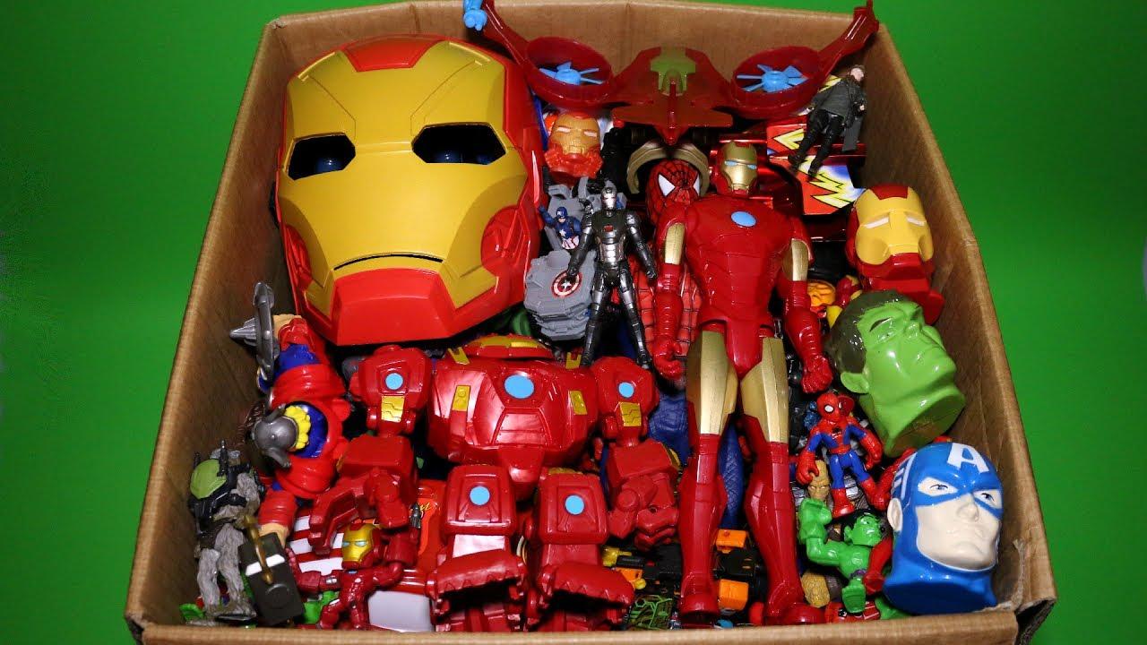 Kids Toys Action Figure: Box Of Toys: Marvel Mashers, Cars, Iron Man & Spiderman