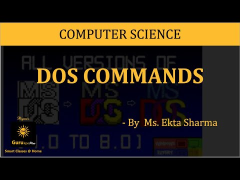 Notes on Internal and External Commands Used in MS-DOS