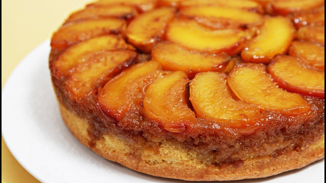 Peach Upside Down Cake With Cognac Caramel Youtube