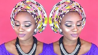 Download Video HOW TO TIE INFINITY PLEATS ANKARA GELE AND MAKEUP TUTORIAL/REVIEW FOR A NIGERIAN BRAND HUSH BEAUTY! MP3 3GP MP4