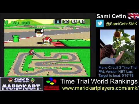 Super Mario Kart SNES Time Trial PAL Mario Circuit 3 Lap:  0'16