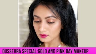 Dussehra Special: Gold and Pink Day Makeup || Easy Makeup Tutorial || Ashtrixx