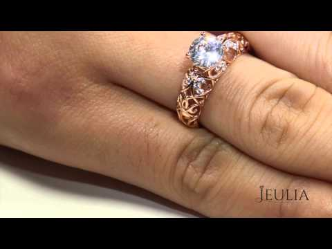 Jeulia Vintage Rose Gold Plated Silver Women's Ring