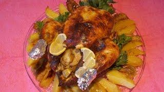 Кулинария. Рецепт курицы фаршированной яблоками и запечённой с картофелем