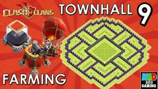 TH9 Dark Elixir FARMING Base (Anti Air) with AIR SWEEPER - Clash of Clans 2015