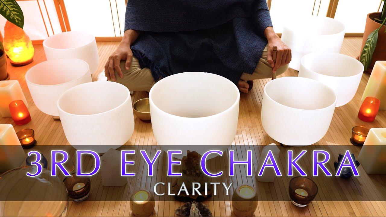3rd Eye Chakra Cleanse | Crystal Singing Bowl Sound Bath | Clarity Meditation | Short 9 Minutes