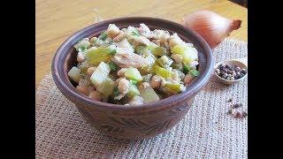 Простой и вкусный салатик с консервированным тунцом и фасолью