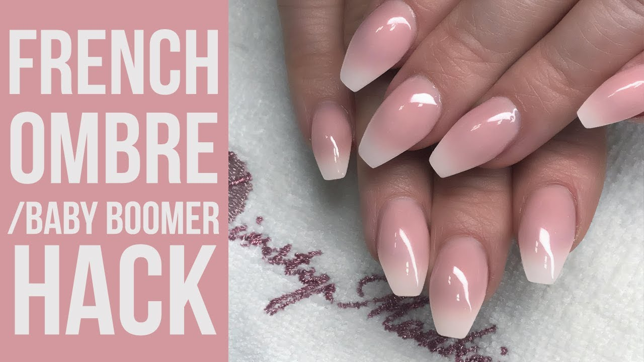 Easy Baby Boomer/French Ombre Hack Using a White Tip - YouTube