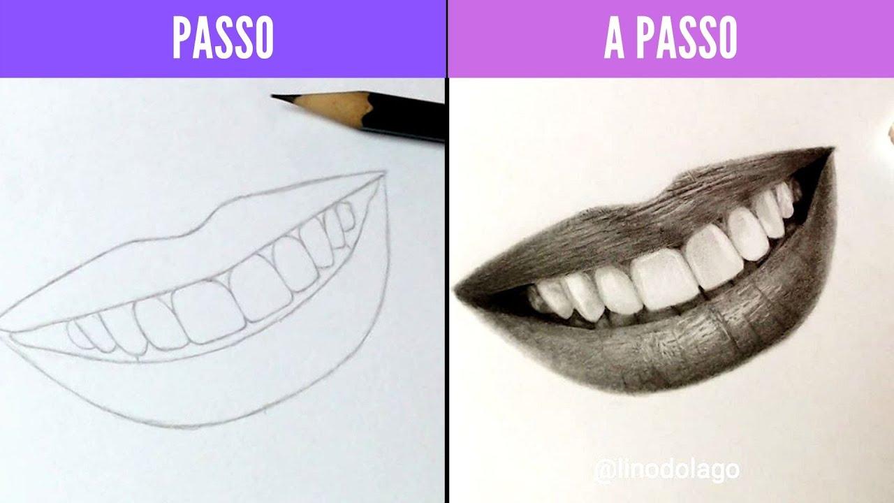 Como Desenhar Boca Sorrindo Realista Passo A Passo Para