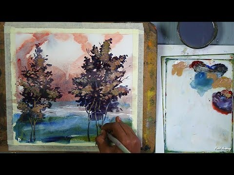 Watercolor Techniques with Acrylic Paint | Tree Painting step by step