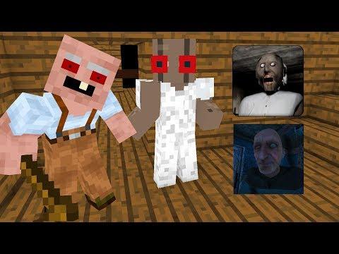Monster School : GRANNY VS GRANDPA HORROR GAME CHALLENGE - Minecraft Animation