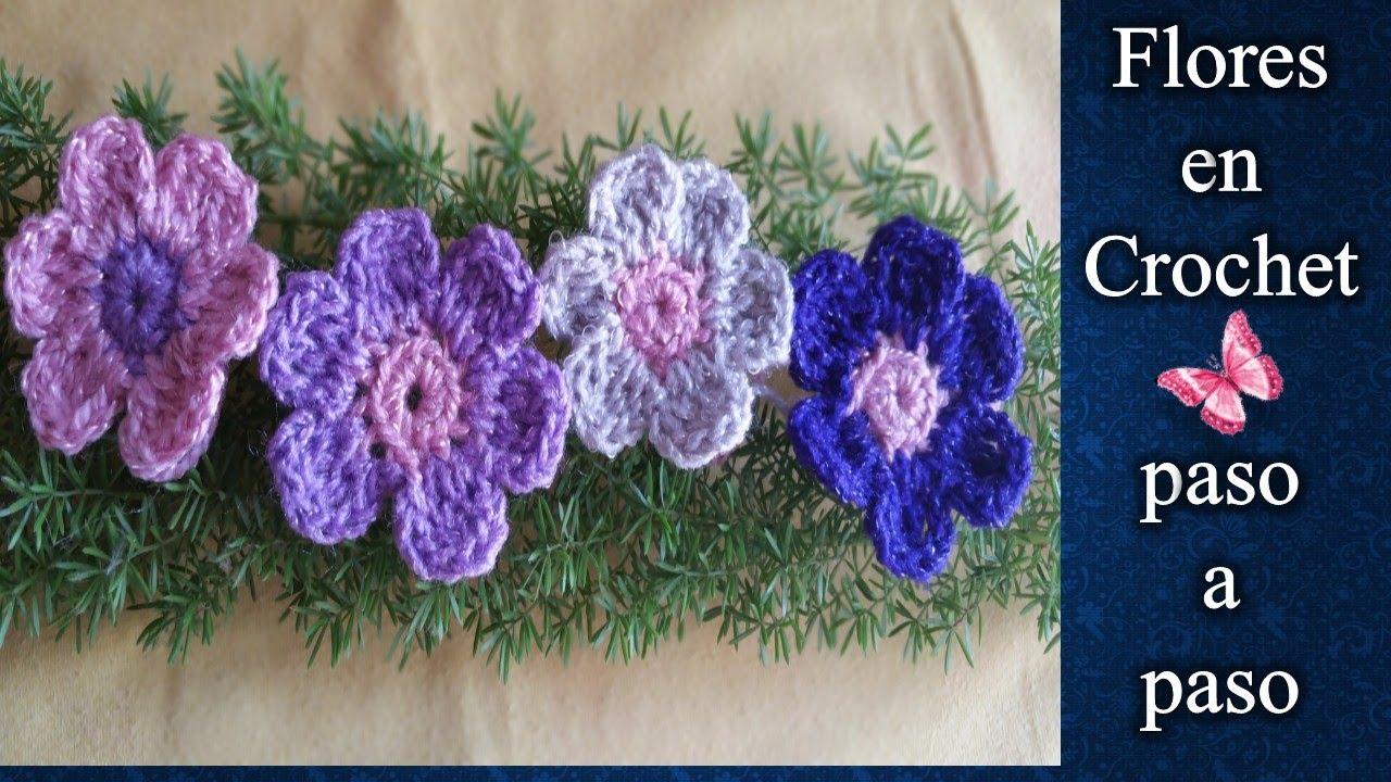 Flores Sencillas En Crochet Youtube