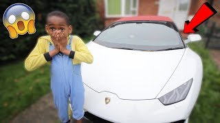 Surprising my little brother with a Lamborghini..*Prank* (Re-Upload)
