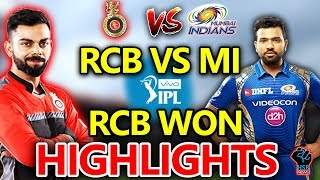 HIGHLIGHTS IPL 2018 MATCH:RCB vs MI Live Match Live Score,Live Streaming Online Score:RCB WON