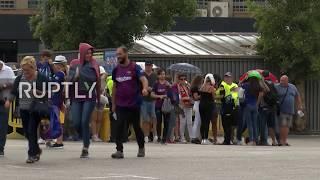Spain: Fans arrive ahead of Barcelona-PSV Eindhoven match