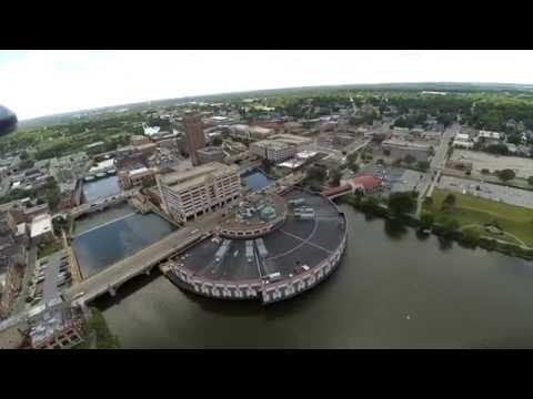 Drone Flight over Downtown Aurora Illinois