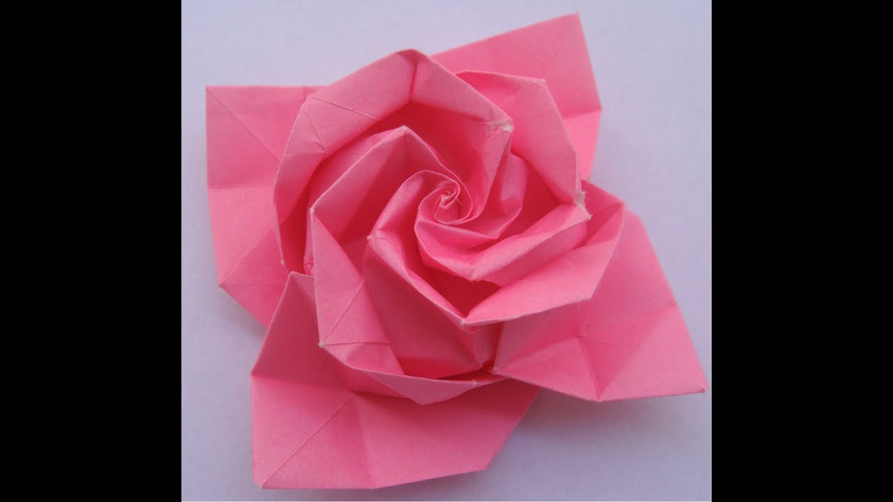 Origami tutorial rose youtube - Origami rose facile a faire ...