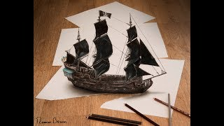 Black Pearl 3d drawing by Ramon Bruin