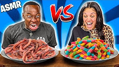 ASMR GUMMY FOOD VS REAL FOOD CHALLENGE | ASMR EATING NO TALKING MUKBANG!!