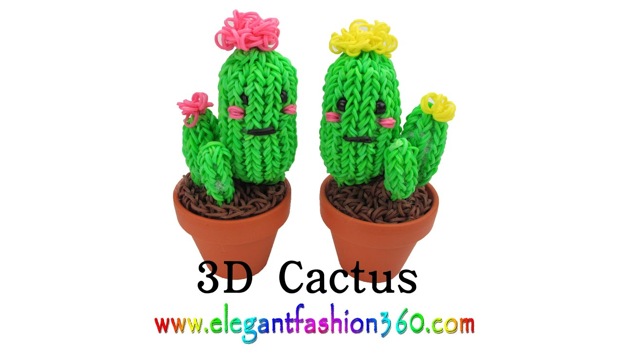 Rainbow Loom Cactus 3d Charms How To Loom Bands Tutorial By Elegant Fashion 360 Viyoutube