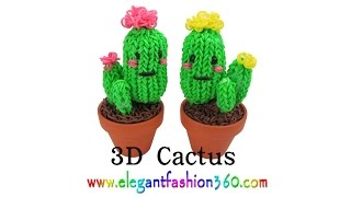 Rainbow Loom Cactus 3D Charms - How to Loom Bands Tutorial by Elegant Fashion 360