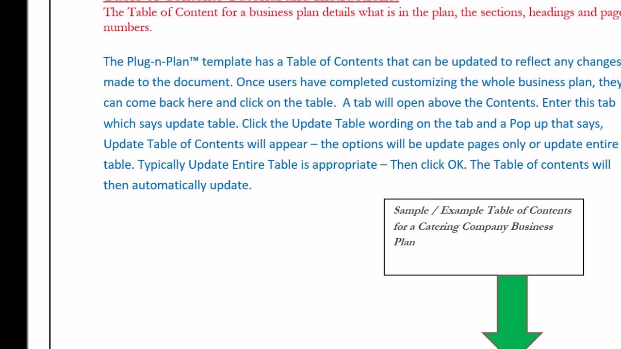 business plan table of contents sample