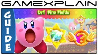 Kirby Triple Deluxe - World 1 Sun Stones & Rare Keychains Guide & Walkthrough (3DS)