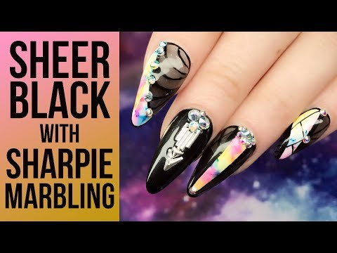Sheer Black Acrylic Full Look with Marbled Sharpie Design - Inspired by Instagram Nail Artist