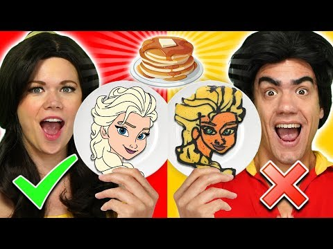 BELLE VS GASTON PANCAKE ART CHALLENGE We Make Frozen 2 Beauty and the Beast & Lion King Pancakes