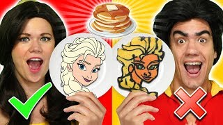 BELLE VS GASTON PANCAKE ART CHALLENGE. We Make Frozen 2, Beauty and the Beast, & Lion King Pancakes.