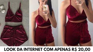 DIY CONJUNTO DE VELUDO – LOOK DA INTERNET COM APENAS R$ 20,00