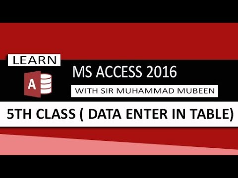 Ms Access 2016 Tutorials in Urdu/Hindi (Lesson 5 - Data Enter In Table )