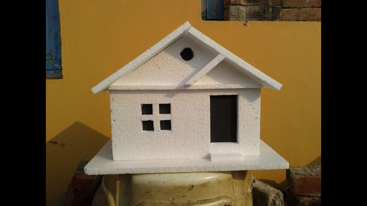 How to make a simple Thermocol Model House: Thermocol crafts - YouTube