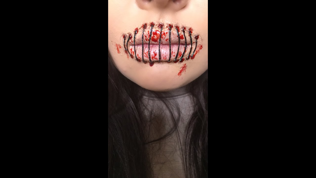 STITCHED LIPS | HALLOWEEN - YouTube