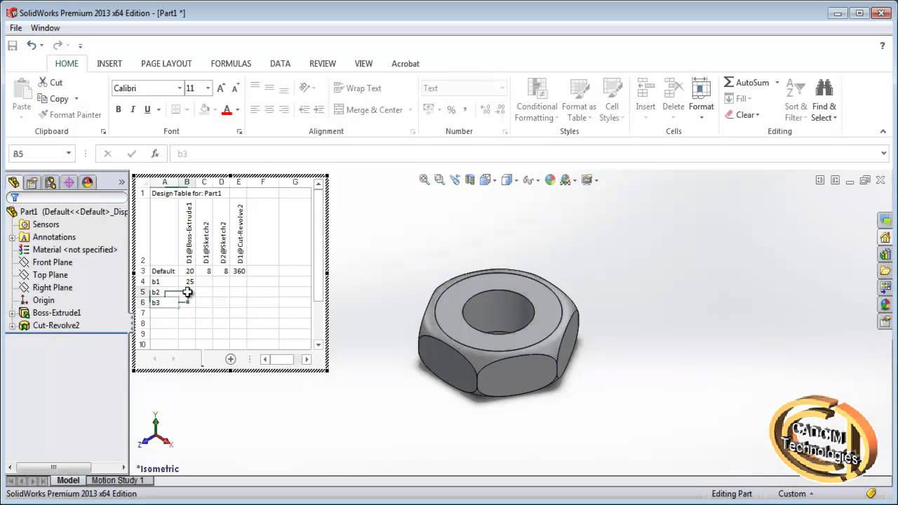 Design Table Solidworks Creating Configuration Using Design Table In Solidworks