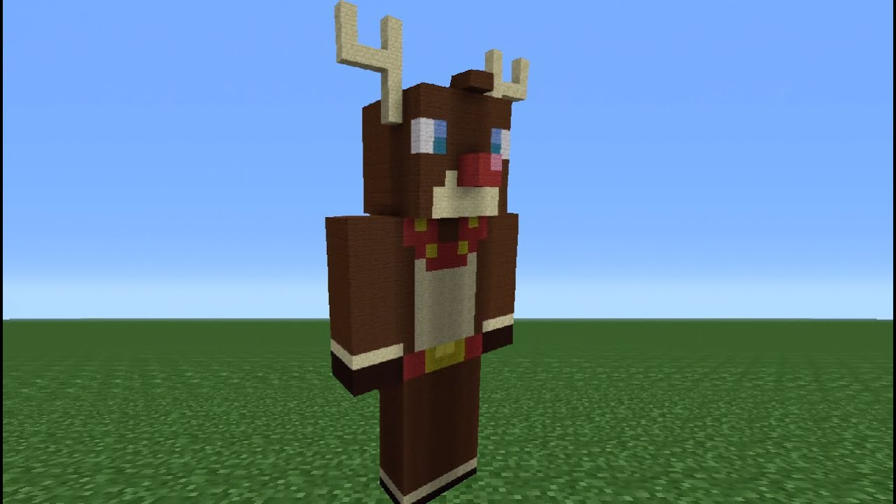 Minecraft Tutorial: How To Make A Rudolph Statue - YouTube