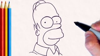 How to Draw Homer Simpson - Step by Step Tutorial For Kids