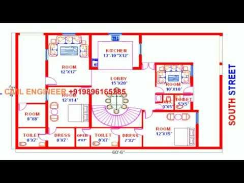 Vastu South Face 1 House Map 40x60 Youtube