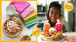 How To Make Birthday Cake Waffles 🎉🎂 | #SMACKYOLIP