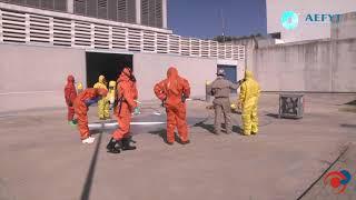 Demostración de actuación en emergencias con amoniaco en el Curso AEFYT