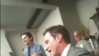 Tim Dekay  & Matt Bomer breaking into song on White Collar  set