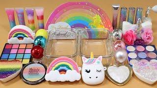 "Mixing""Rainbow vsUnicorn""Eyeshadow and Makeup,parts,glitter Into Slime!Satisfying Slime Video!★ASMR★"
