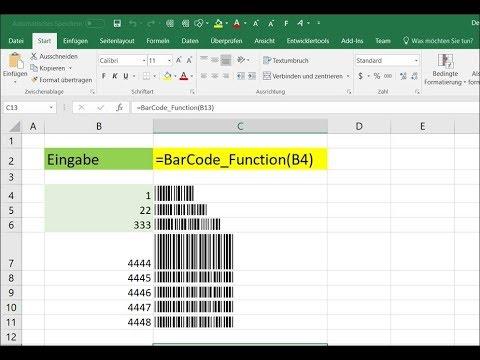 Excel Barcode in Zellen einfügen kostenlos als Macro Formel Code ...