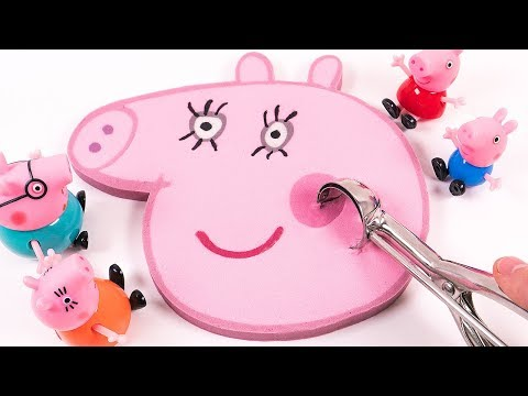 DIY How to Make Kinetic Sand Peppa Pig Mummy Pig Face Cake Learn Colors for Kids