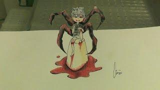 3d Trick Art , Anamorphic Speed Drawing of Kaneki Ken Chibi , Tokyo Ghoul