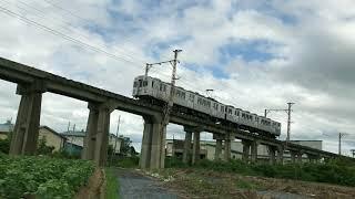 【弘南鉄道】石川陸橋を渡る7033F(水間鉄道デザイン車両)